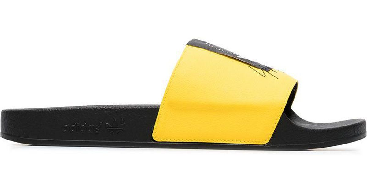 a4825cb08 Lyst - Y-3 Yellow Adilette Leather Slides in Black for Men