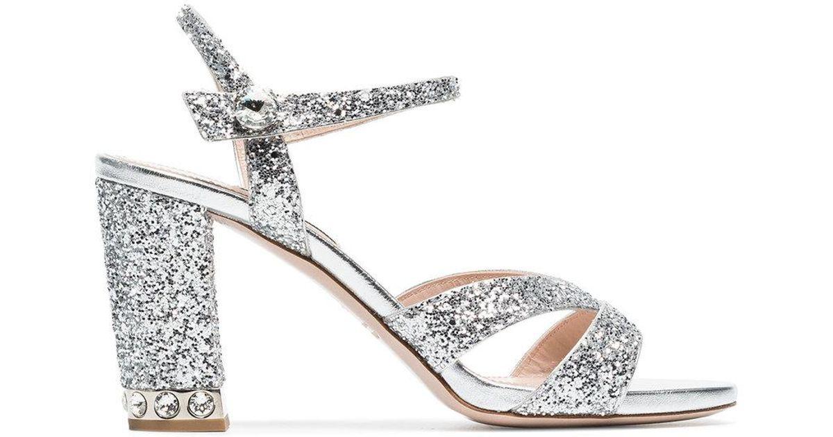 Miu Miu Silver 85 Glitter Sandals in