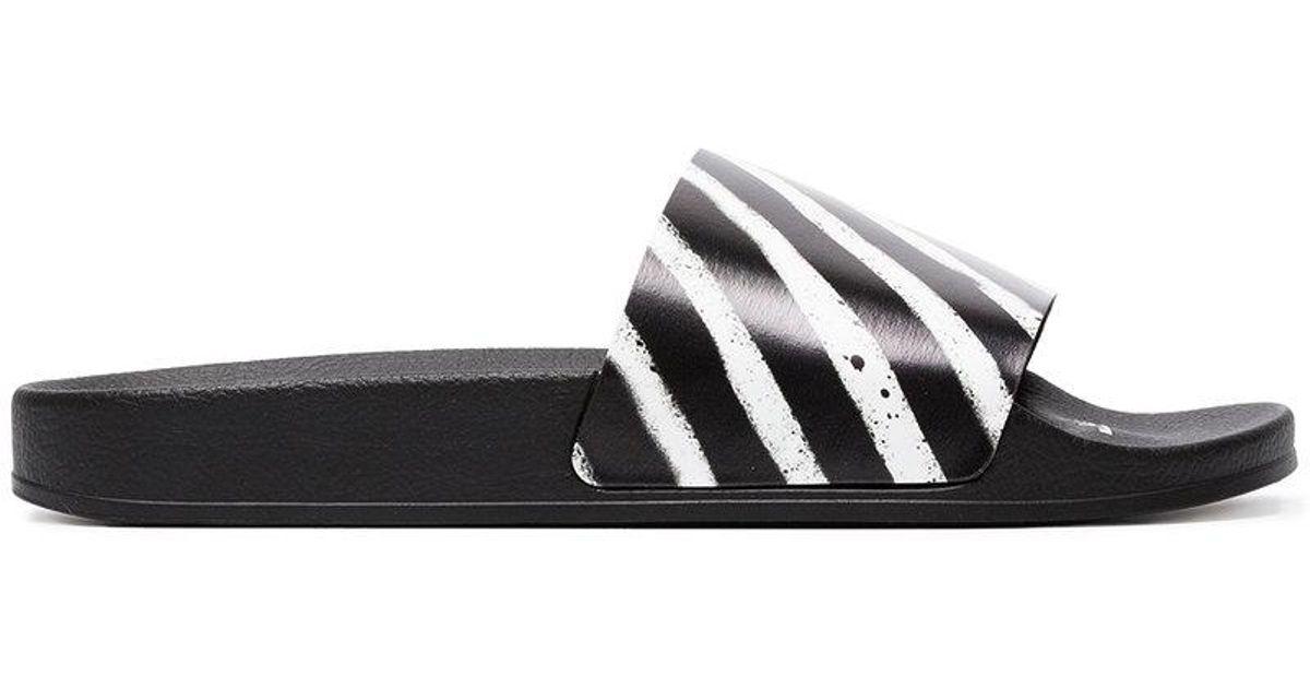 cf2066946 Off-White c o Virgil Abloh Printed Rubber Slides in Black for Men - Save  69% - Lyst