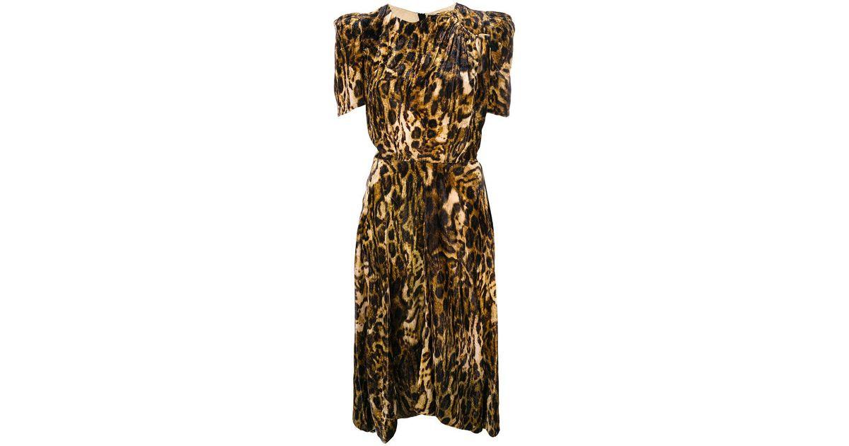 0d6ea6e9cc85 Isabel Marant Ulia Velvet Leopard Dress in Brown - Lyst