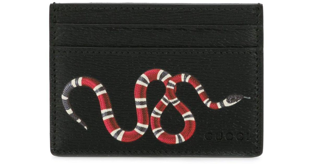 25c6d9f5e03 Gucci Snake Print Cardholder in Black for Men - Lyst