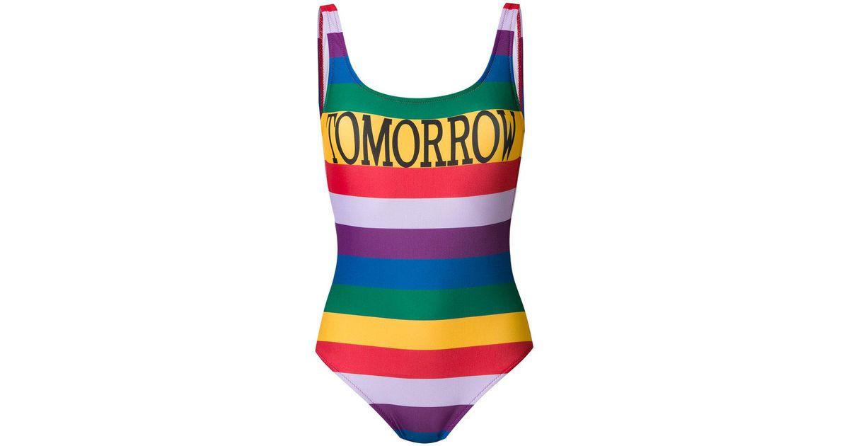395f8fc07e Lyst - Alberta Ferretti Tomorrow Rainbow Stripe Swimsuit - Save 29%