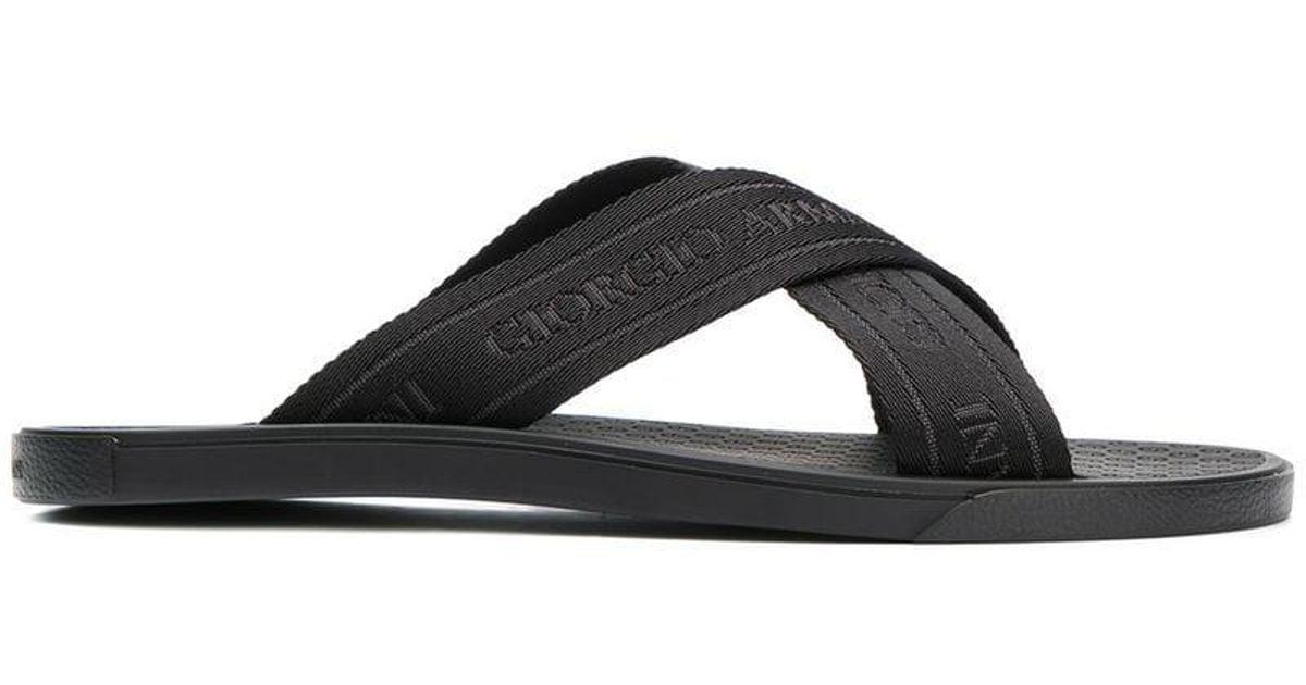 ece38875750154 Lyst - Giorgio Armani Logo Embossed Cross Strap Sandals in Black for Men