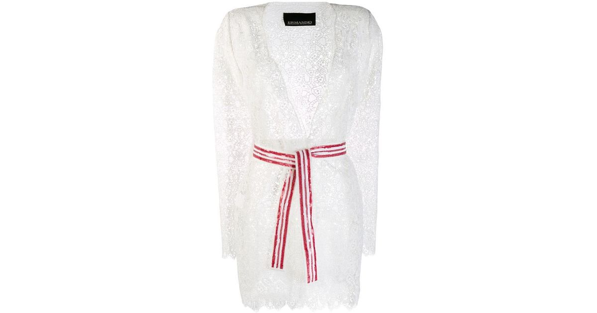 Ermanno Lace Cardigan Scervino In Lyst White Belted 534AjqLR