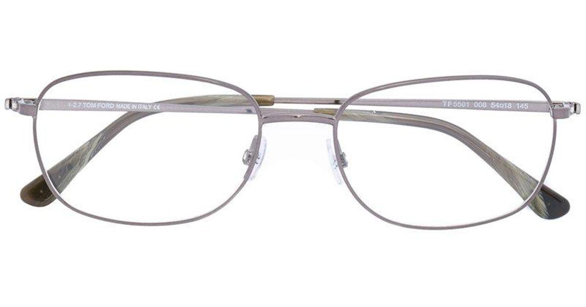 Lyst - Tom Ford Square Thin Frame Glasses in Metallic for Men