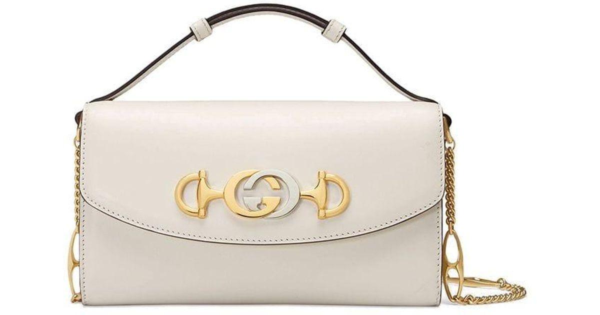 99e1627dd880 Gucci Zumi Mini Shoulder Bag in White - Lyst