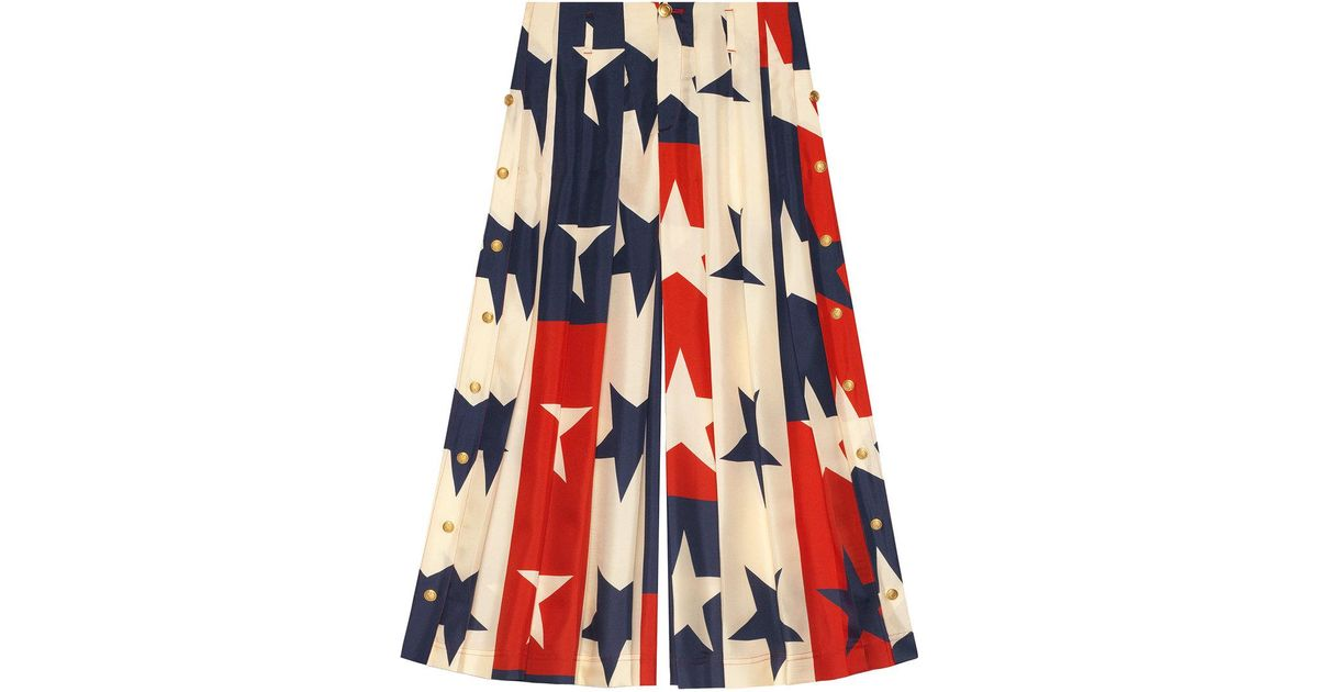 Star pattern silk pleated pant - White Gucci SfFh7RpHI