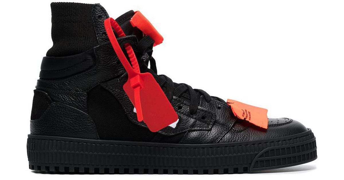 a97438884ab0 Lyst - Off-White c o Virgil Abloh Black Off Court 3.0 Leather Sneakers in  Black