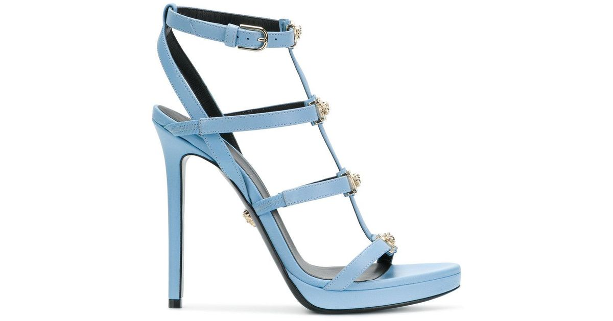 d195ef62d43 Lyst - Versace Strappy Medusa Head Sandals in Blue