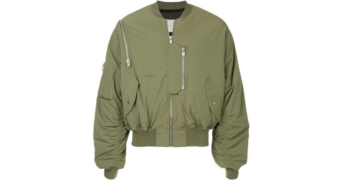 274a1661a HELIOT EMIL Green Multi Zipper Bomber Jacket for men