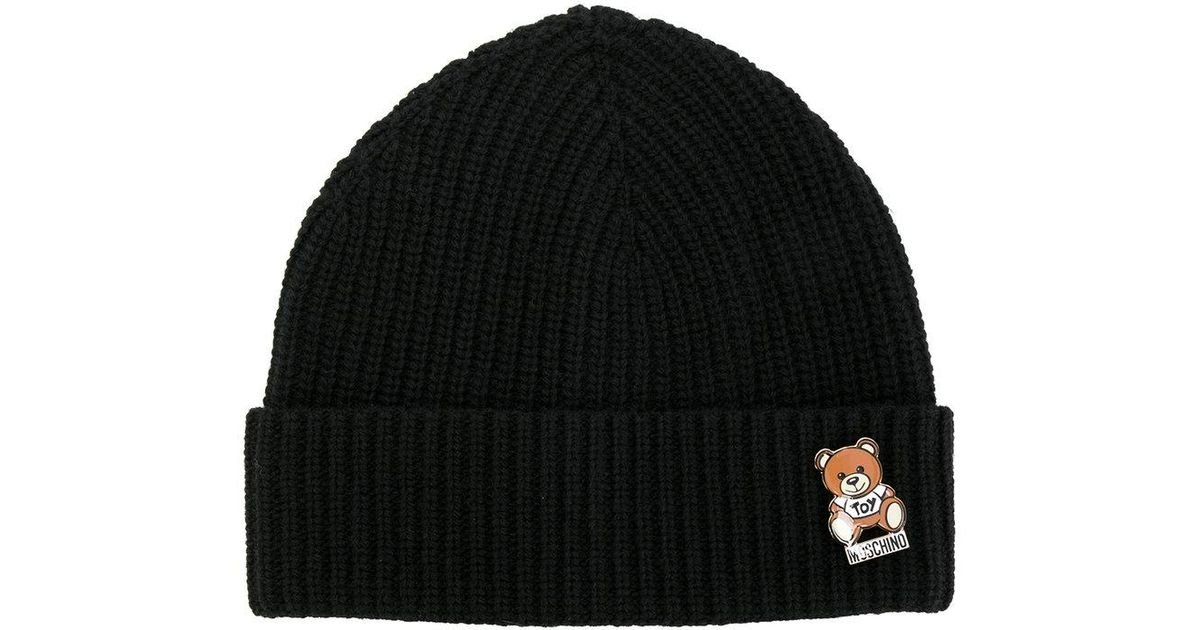 3f13c84a641 Lyst - Moschino Ribbed Teddy Pin Beanie in Black