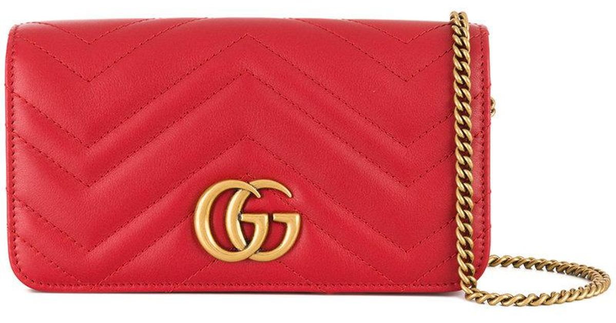 4fad5a2f5fb3 Gucci Gg Marmont Clutch in Red - Lyst