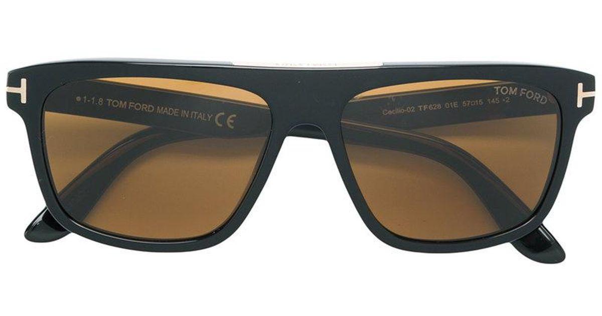 4d184810fd9 Tom Ford Square Sunglasses in Black for Men - Lyst