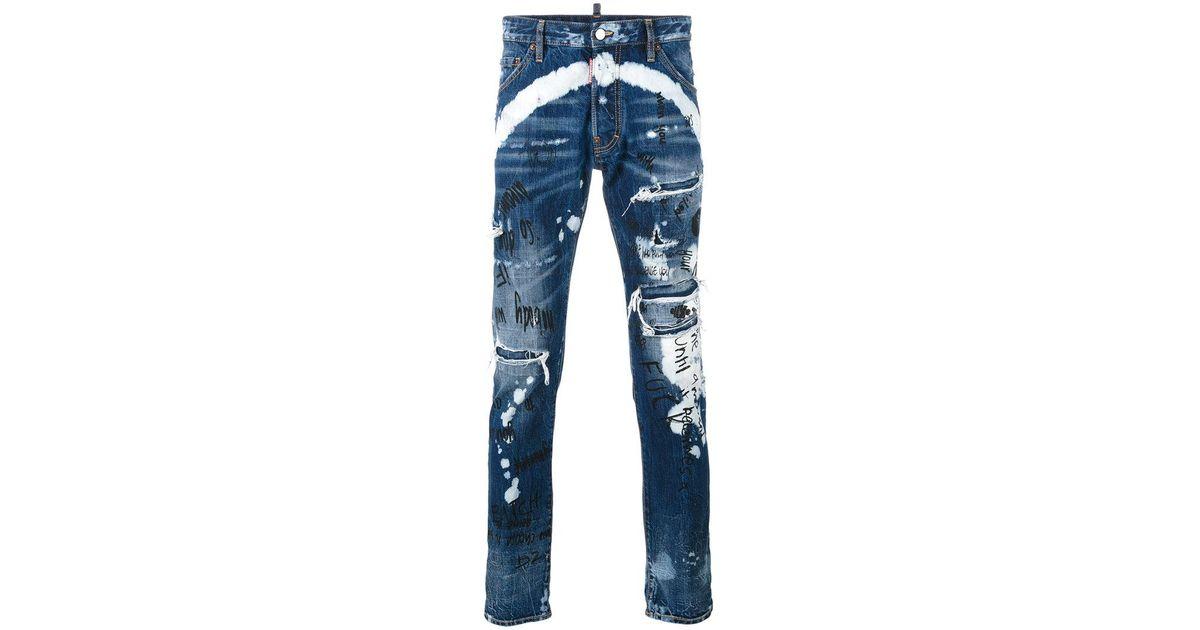 e46376fa DSquared² Distressed Graffiti Jeans in Blue for Men - Lyst