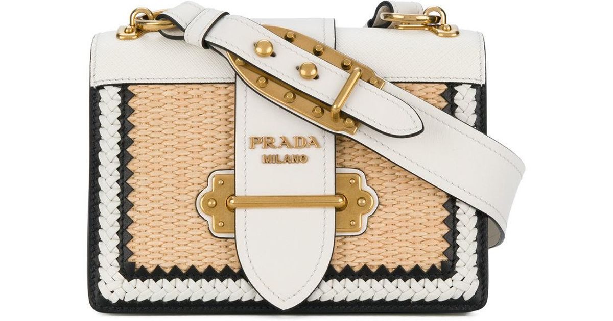 befa256998 Prada Cahier Straw Shoulder Bag - Lyst