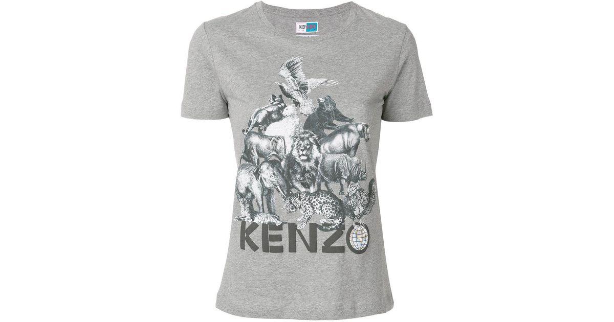 51586639 KENZO Animal Kingdom Print T-shirt in Gray for Men - Lyst