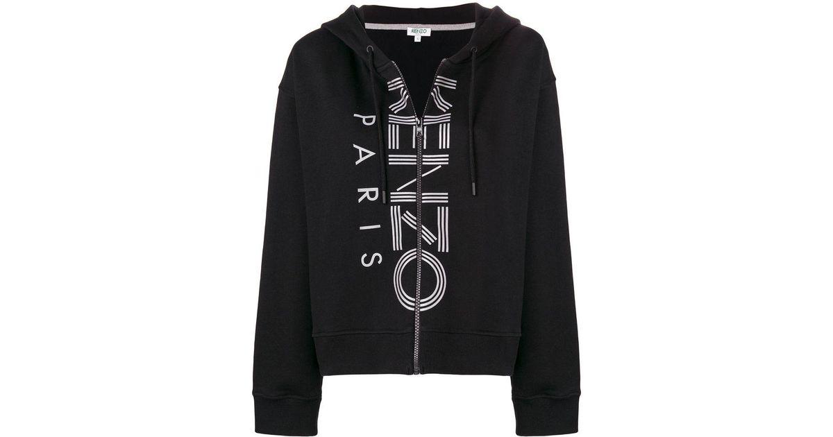 19957c086e51 KENZO Logo Zipped Jacket in Black - Lyst