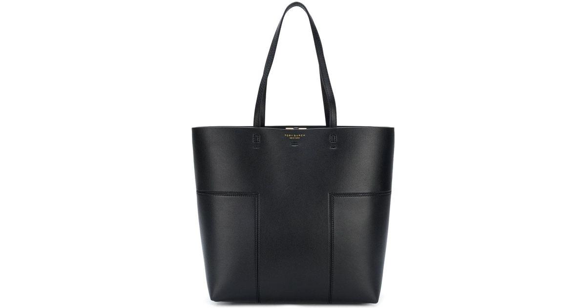 8ea39b32d8bc Lyst - Tory Burch Block-t Tall Tote Bag in Black