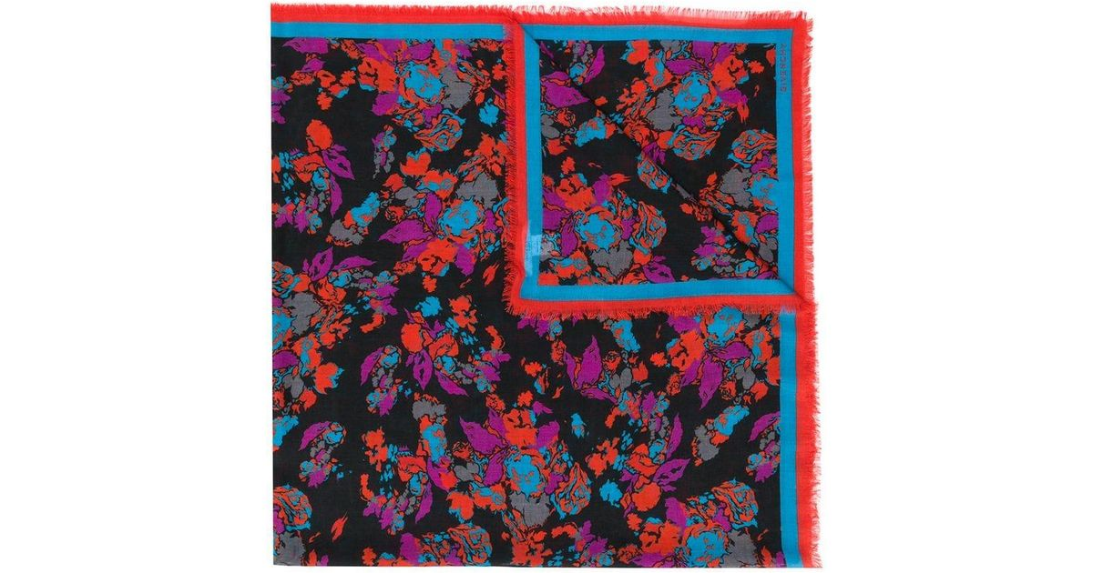 087c21b9c124 Lyst - Givenchy Floral Embroidered Scarf in Black