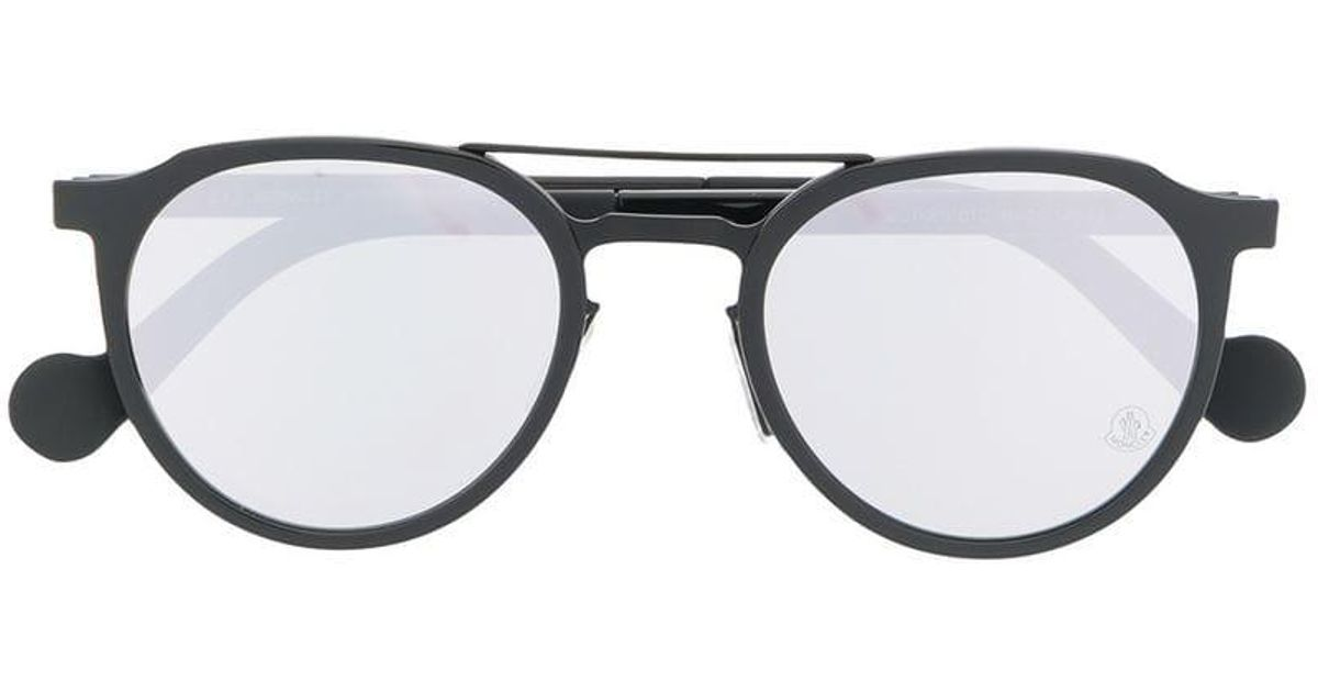 ab5a4380d08 Moncler Round Shape Sunglasses in Black - Lyst
