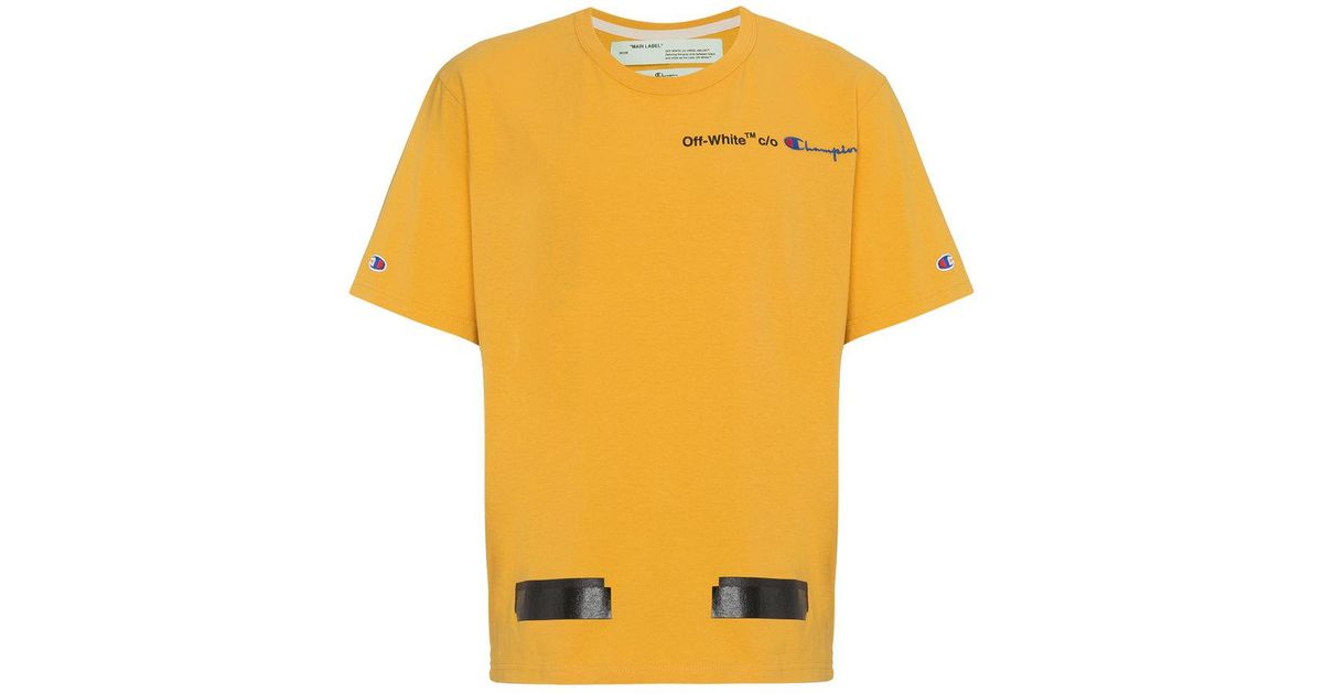 0d551c1f Off-White C/O Virgil Abloh X Champion Yellow T-shirt in Yellow for Men -  Lyst
