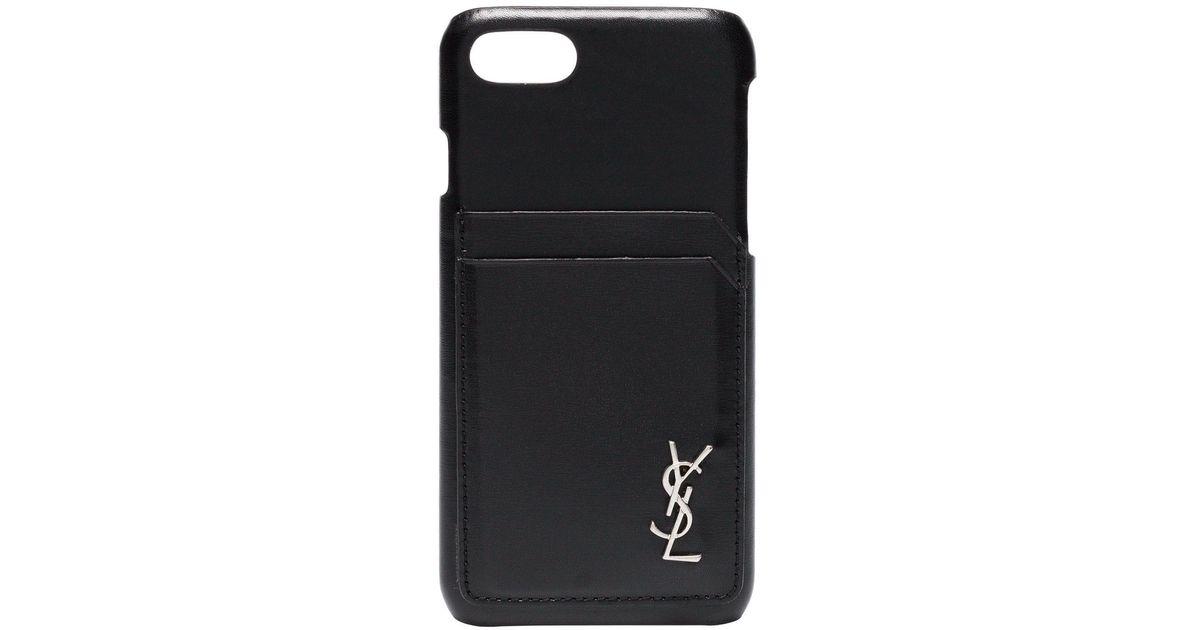 new style 611cb 453d5 Saint Laurent Black Cardholder And Logo Embellished Iphone 8 Case for men