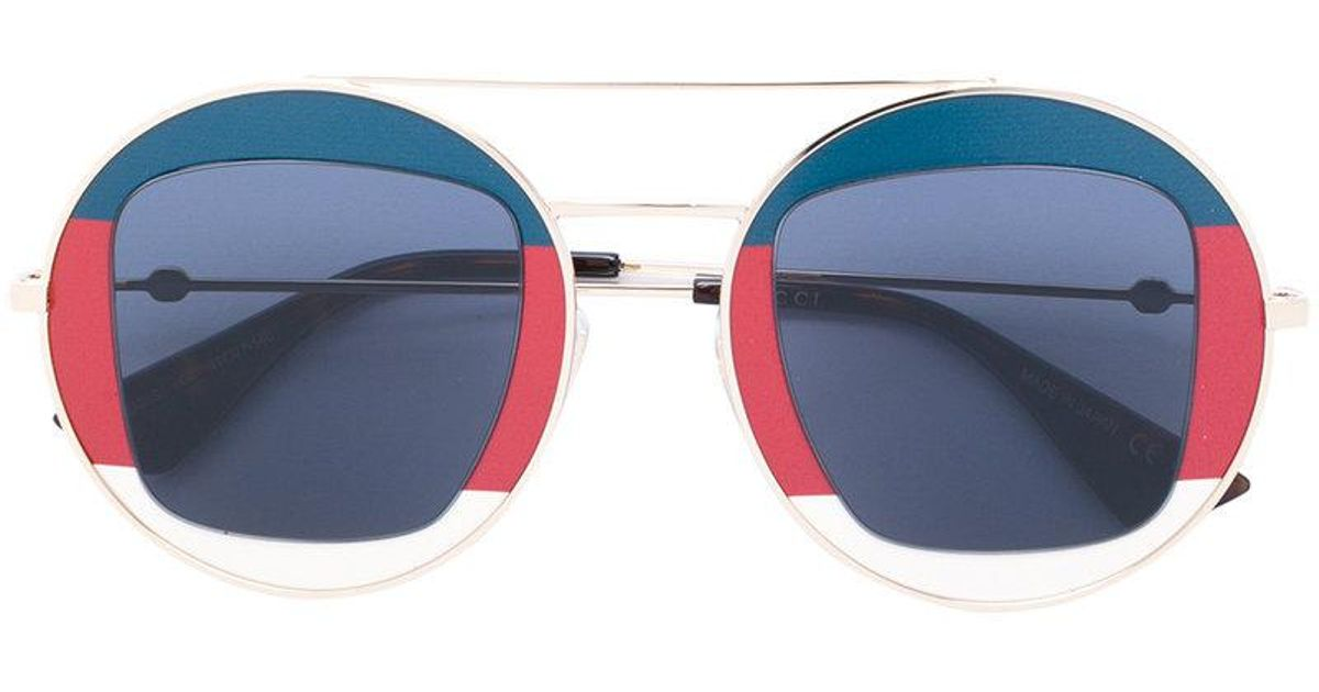 c2d4705137f Lyst - Gucci Sylvie Web Round Metal Sunglasses in Blue