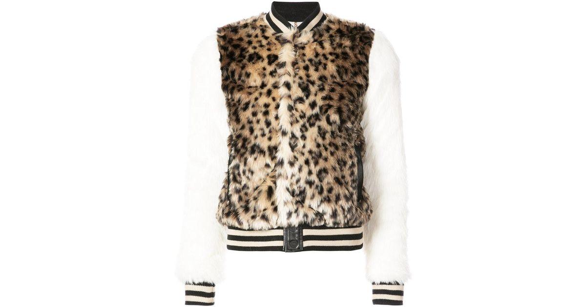 4e74620f7 Mother Multicolor Leopard Print Faux Fur Bomber Jacket