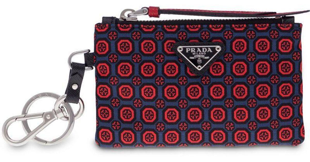 f68f82f3b2 Prada Red Saffiano Leather And Nylon Keychain Trick for men