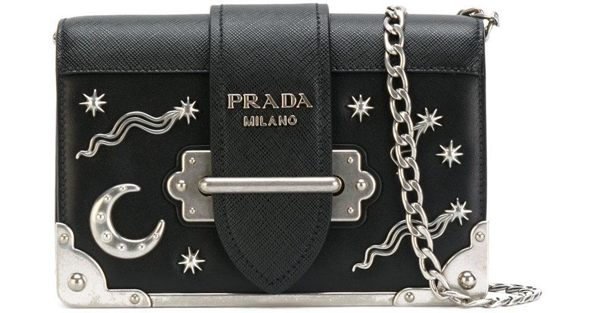 ad50eeaf75ba Lyst - Prada Cahier Moon And Stars Bag in Black