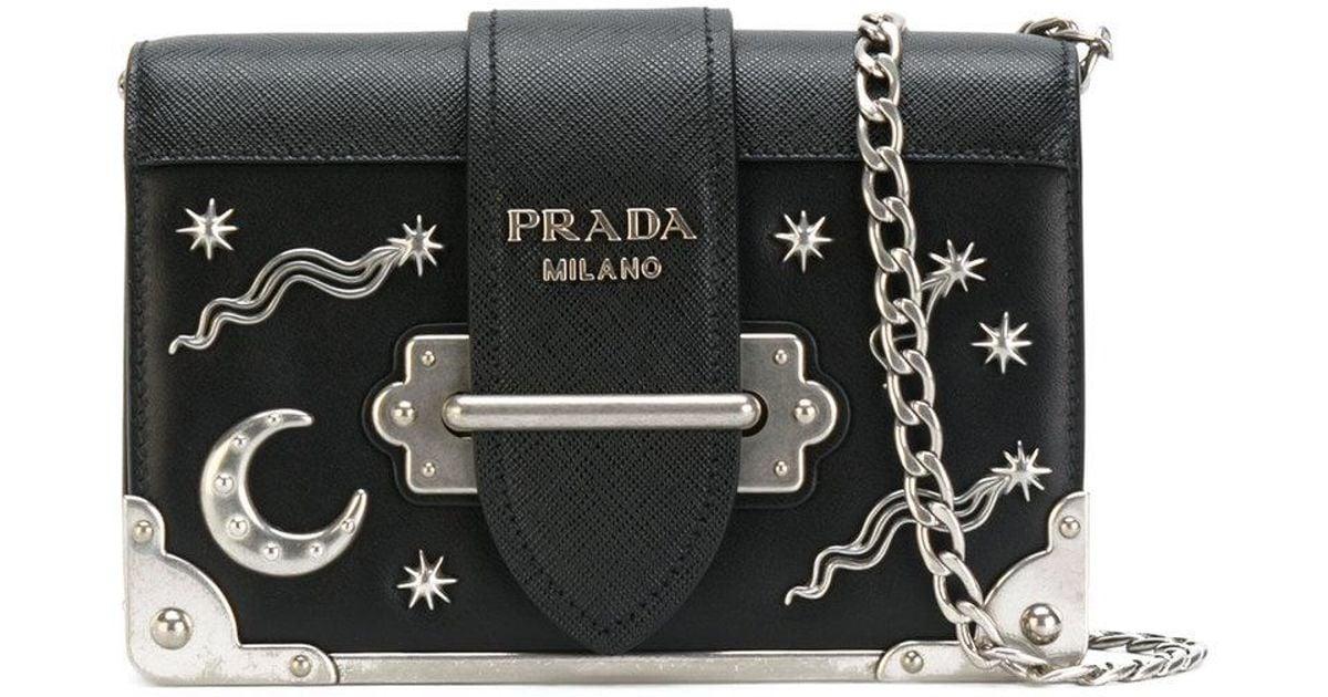 5d286511187337 Prada Cahier Moon And Stars Bag in Black - Lyst