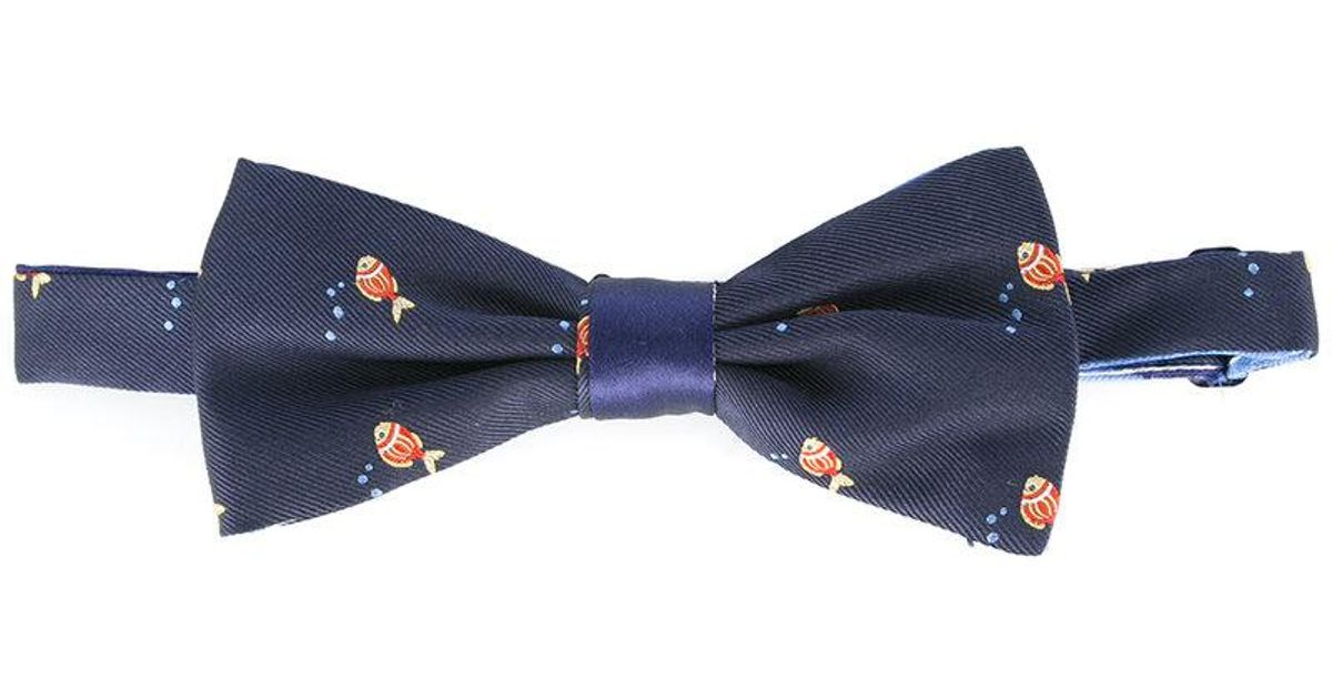 Canali woven fish bow tie in blue for men lyst for Fish bow tie