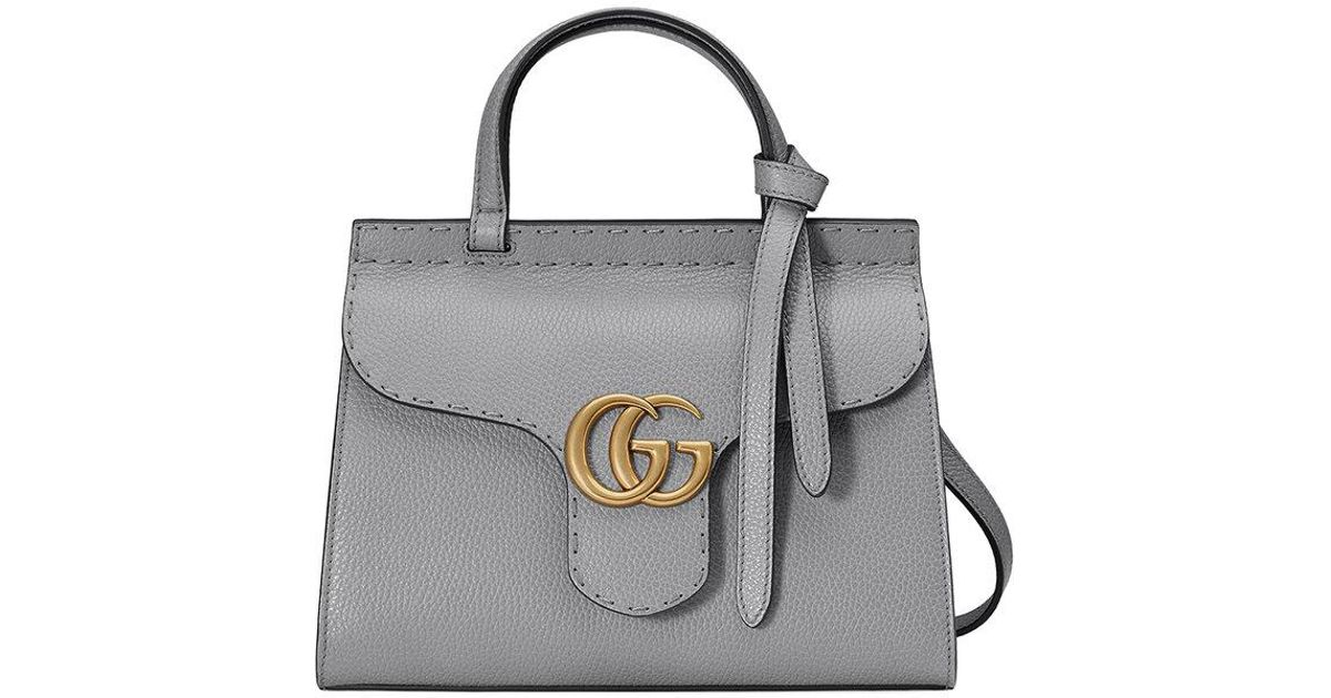 4d5eba0a6 Gucci Gg Marmont Leather Top Handle Mini Bag in Gray - Lyst