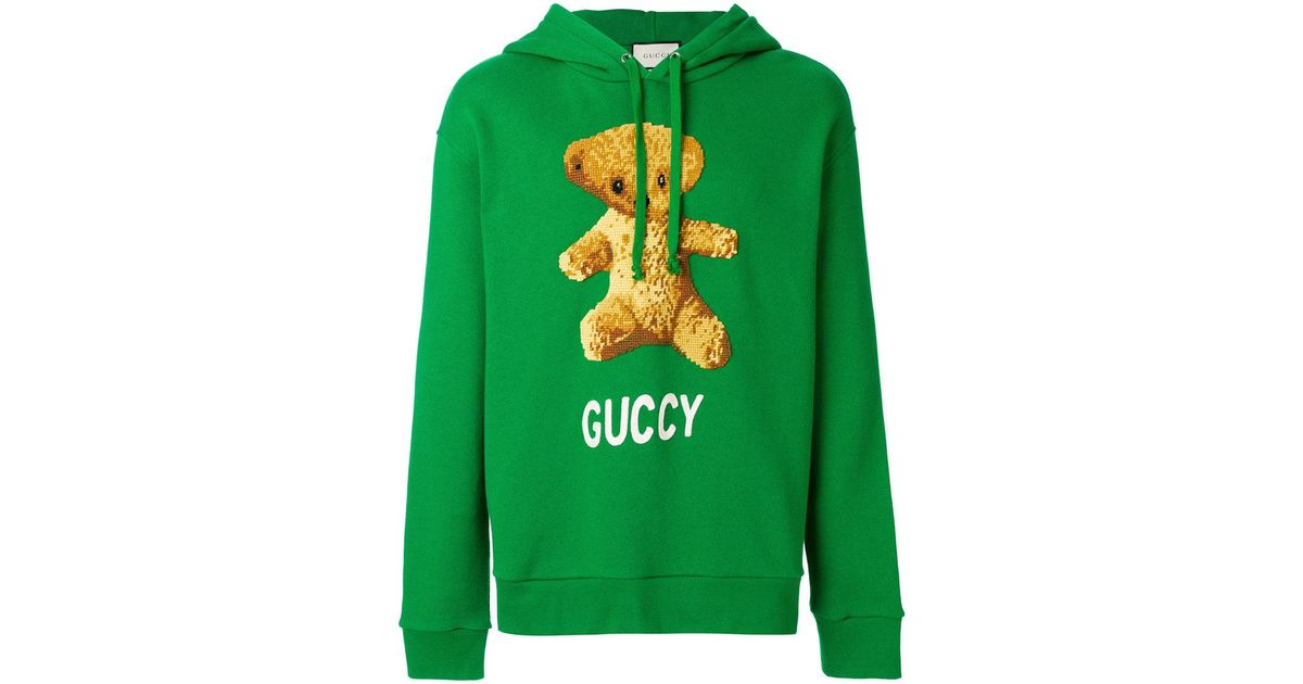 c2947eb17 Gucci Embroidedered Teddy Bear Hoodie in Green for Men - Lyst