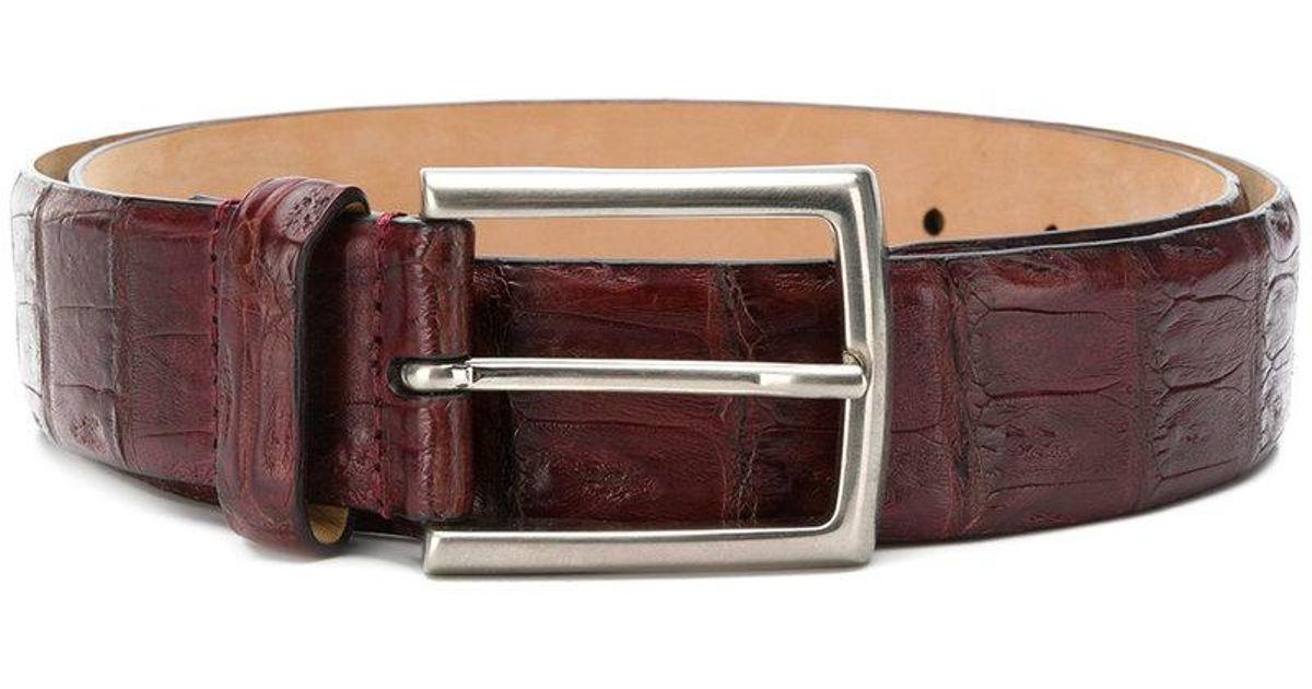 7a50d08fbeff4e Lyst - Cinturón con efecto de piel de cocodrilo Simonnot Godard de hombre  de color Rojo