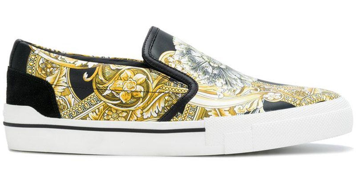 Versace Leather Baroque Printed Slip-on