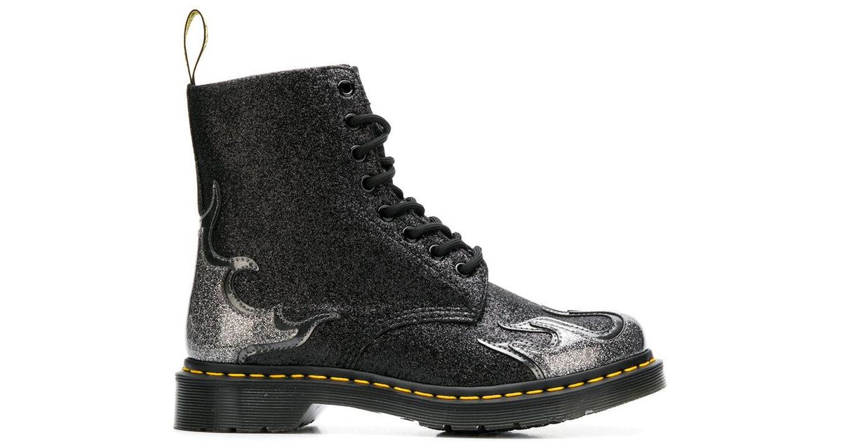 1cd07e58279ac Dr. Martens Near Black Glitter '1460 Pascal Flame' Lace Up Boots in Black -  Lyst