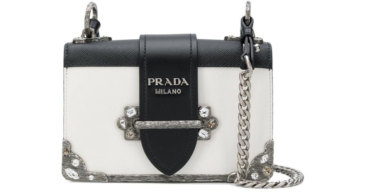 Lyst - Prada Cahier Mini Bag in White 811c1780b48dc