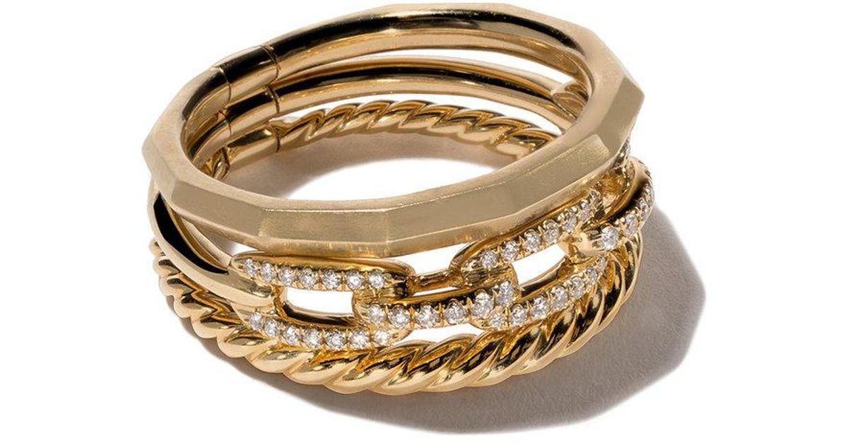18 Quilates De Oro Amarillo Diamante Stax Estrecho Anillo - Metálico David Yurman A312ZB