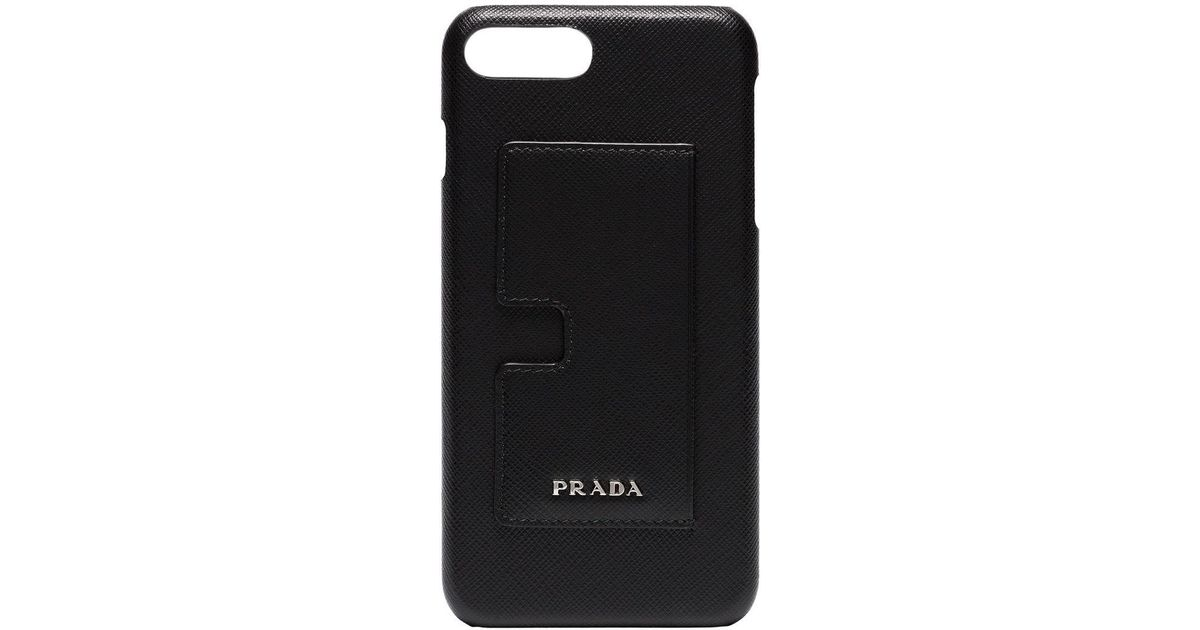 4d5d731c7a Prada Black Logo Leather Iphone 8 Plus Case With Card Holder for men