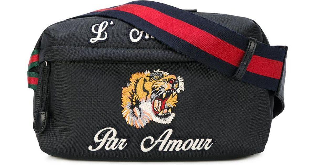 e24c58010 Gucci Embroidered Tech Pack Belt Bag in Black for Men - Lyst