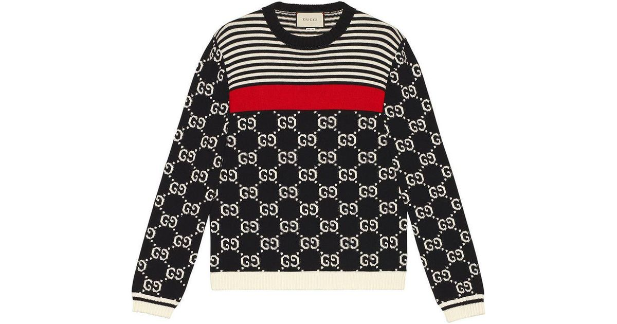 2062deff7 Gucci GG And Stripes Knit Sweater in Blue for Men - Lyst