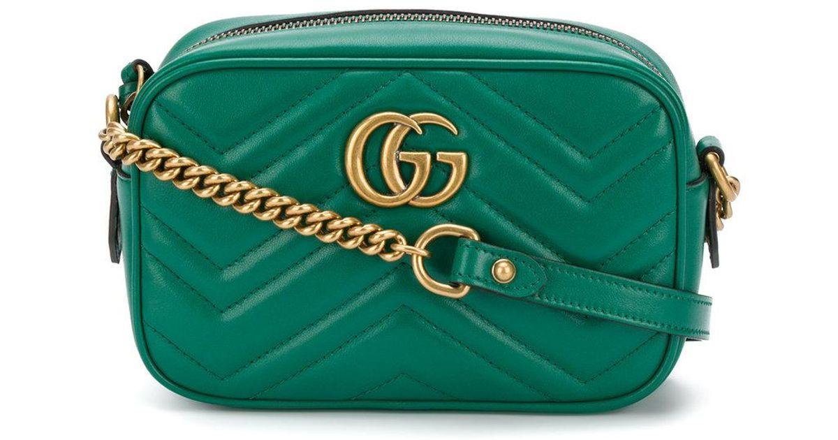 60d0abe4ca Mini sac à bandoulière GG Marmont Gucci en coloris Vert - Lyst
