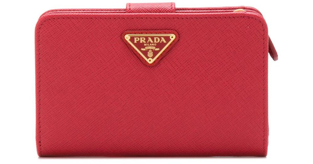 logo plaque wallet - Red Prada q4SgdI