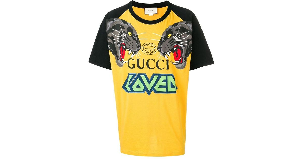3e1fe979f Gucci Tiger Printed T-shirt in Yellow for Men - Save 37% - Lyst