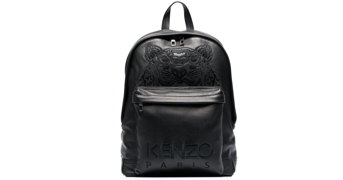 dbf4abb6dd Lyst - KENZO Black Tiger Logo Embroidered Leather Backpack in Black for Men  - Save 7%