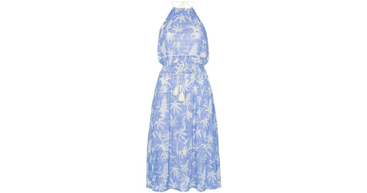 Boetica halterneck palm print cotton blend dress A Peace Treaty 3781Bw