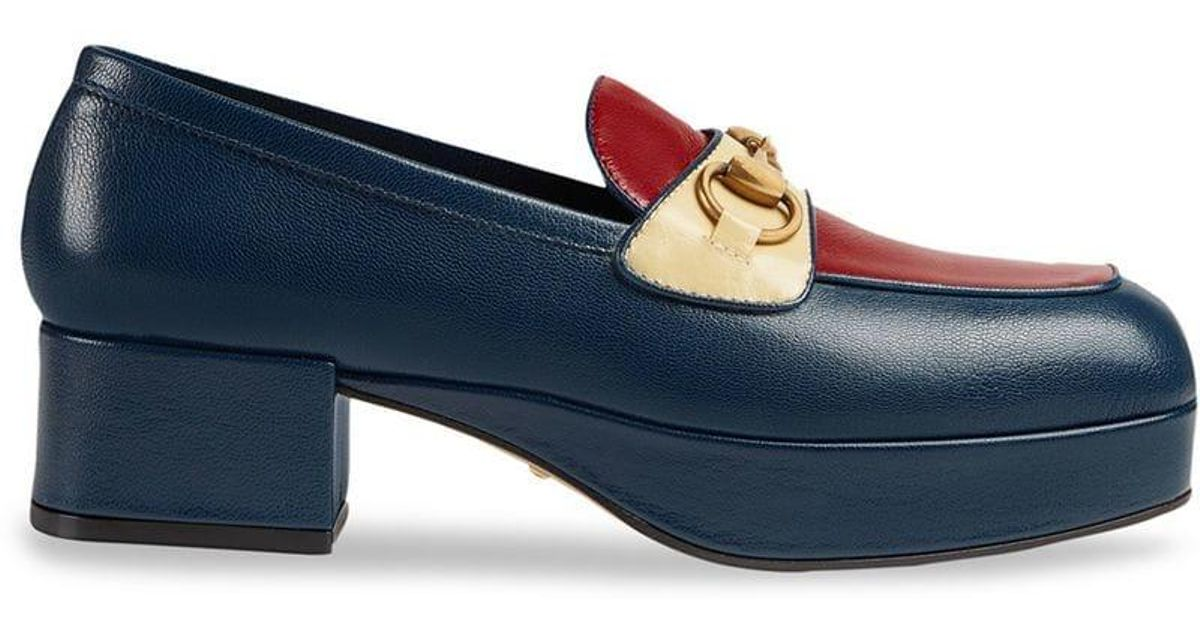 205f83f15bf6 Lyst - Gucci Horsebit Platform Loafers in Blue