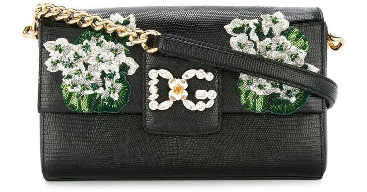 c347a7160f Lyst - Dolce   Gabbana White Geranium Embroidered Dg Millennials Shoulder  Bag in Black