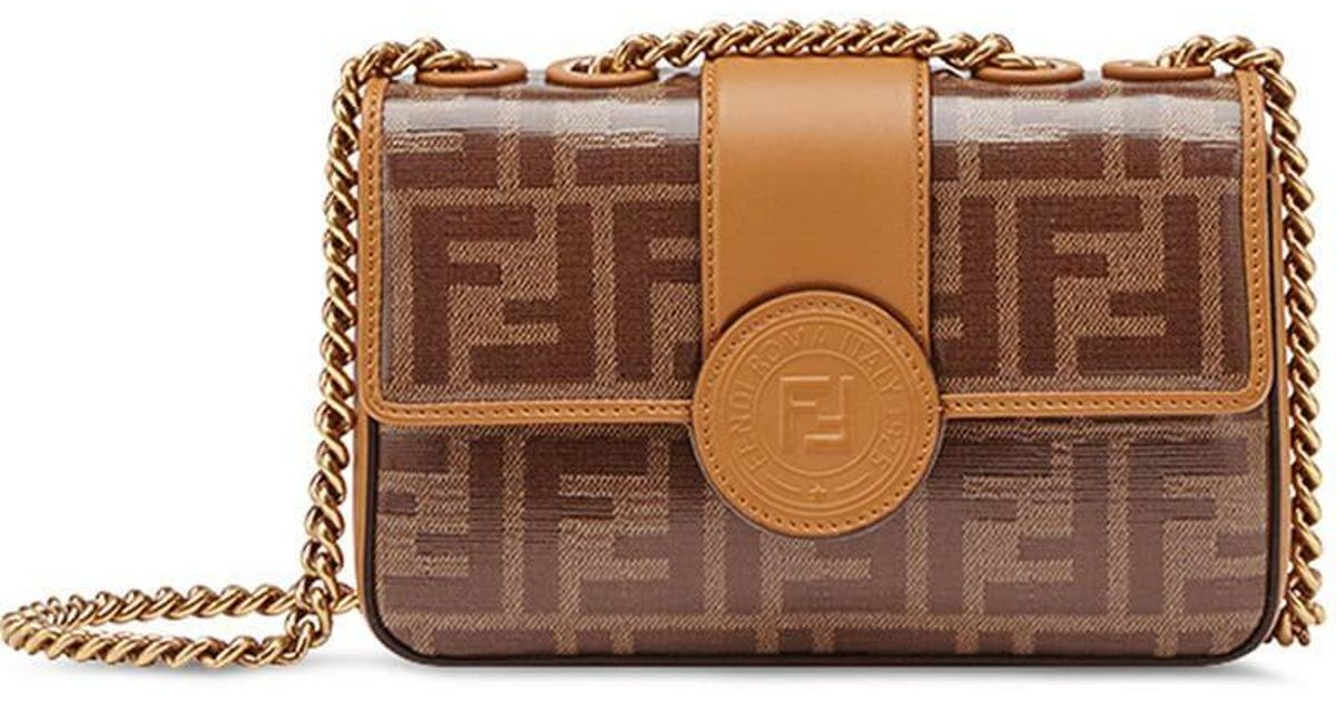 e03473f7139d Fendi Mini Double F Shoulder Bag in Brown - Lyst